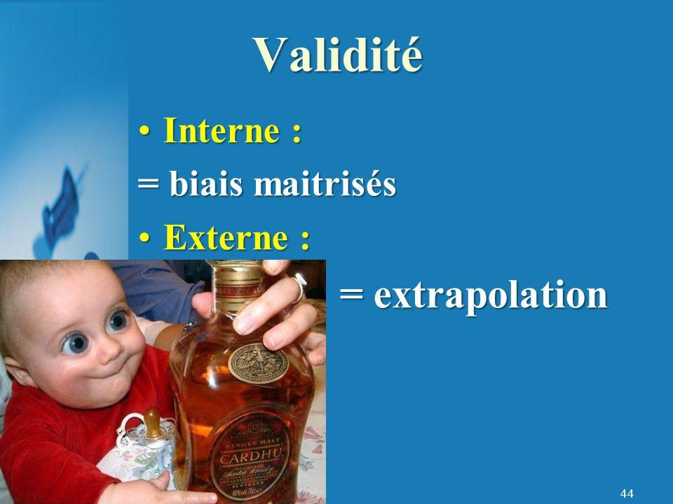 Validité = extrapolation Interne : = biais maitrisés Externe :