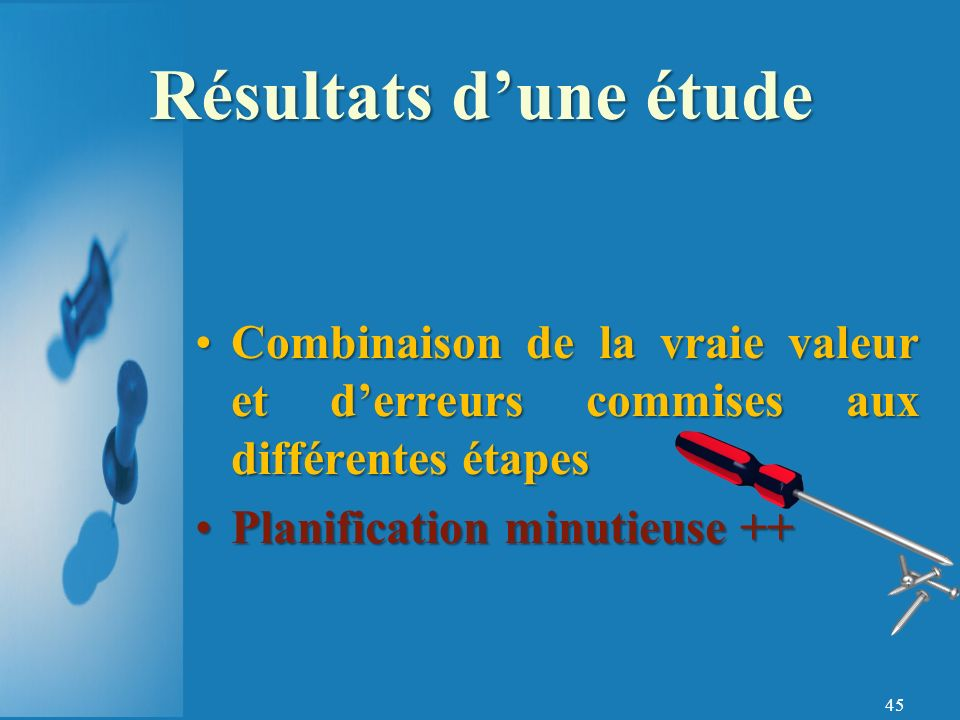 Résultats d'une étude Combinaison de la vraie valeur et d'erreurs commises aux différentes étapes. Planification minutieuse ++