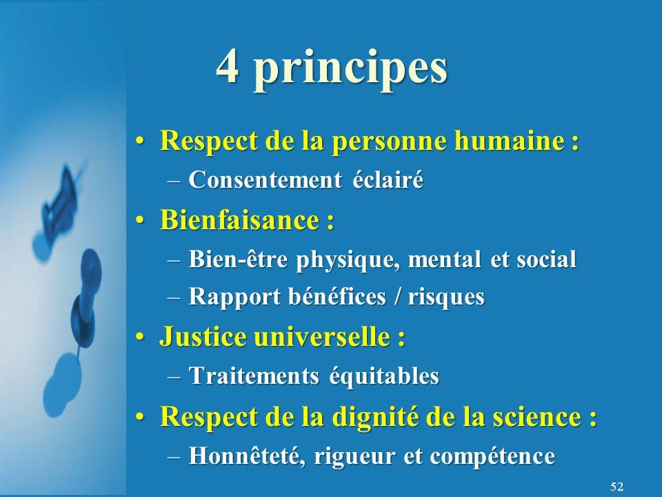 4 principes Respect de la personne humaine : Bienfaisance :