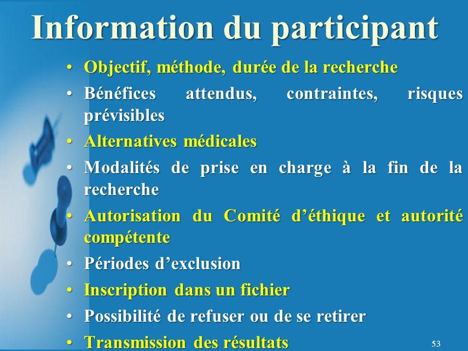 Information du participant