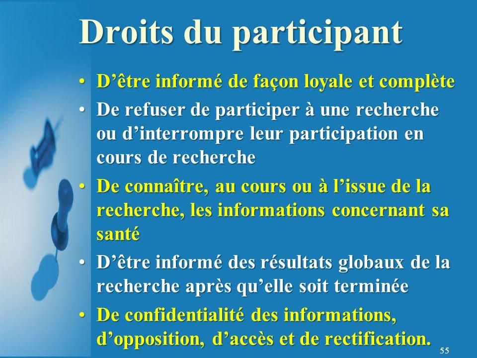 Droits du participant D'être informé de façon loyale et complète