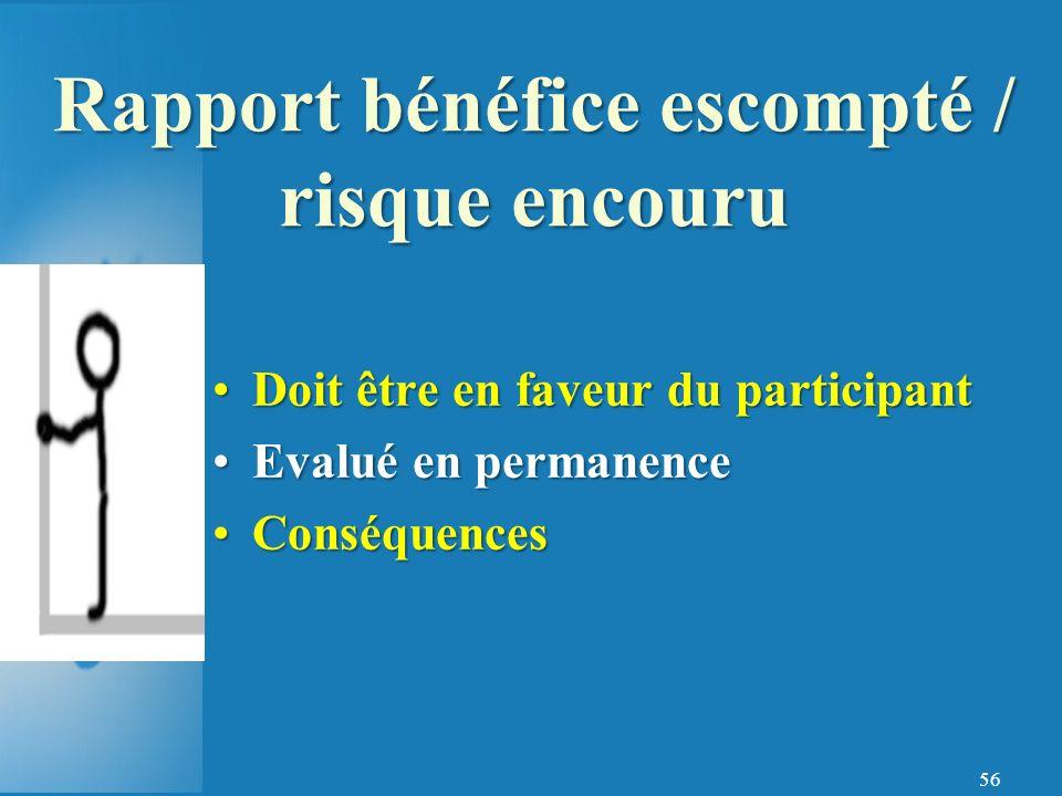 Rapport bénéfice escompté / risque encouru