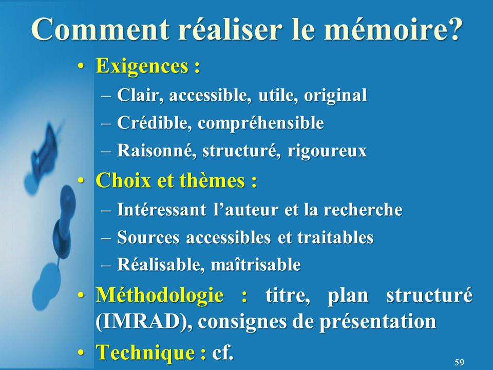 Comment réaliser le mémoire