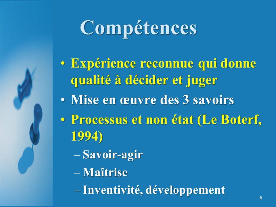 Compétences Expérience reconnue qui donne qualité à décider et juger