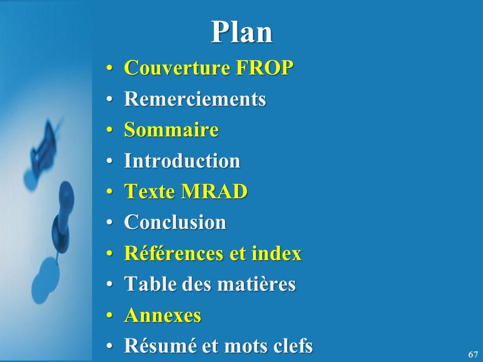 Plan Couverture FROP Remerciements Sommaire Introduction Texte MRAD
