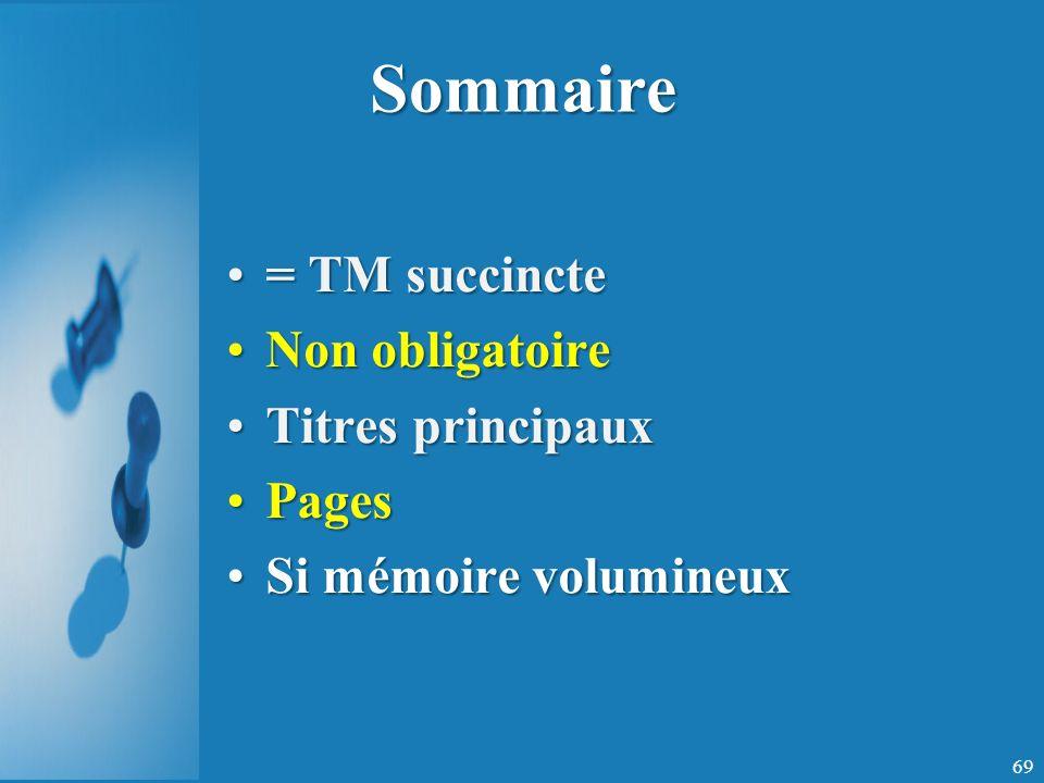 Sommaire = TM succincte Non obligatoire Titres principaux Pages