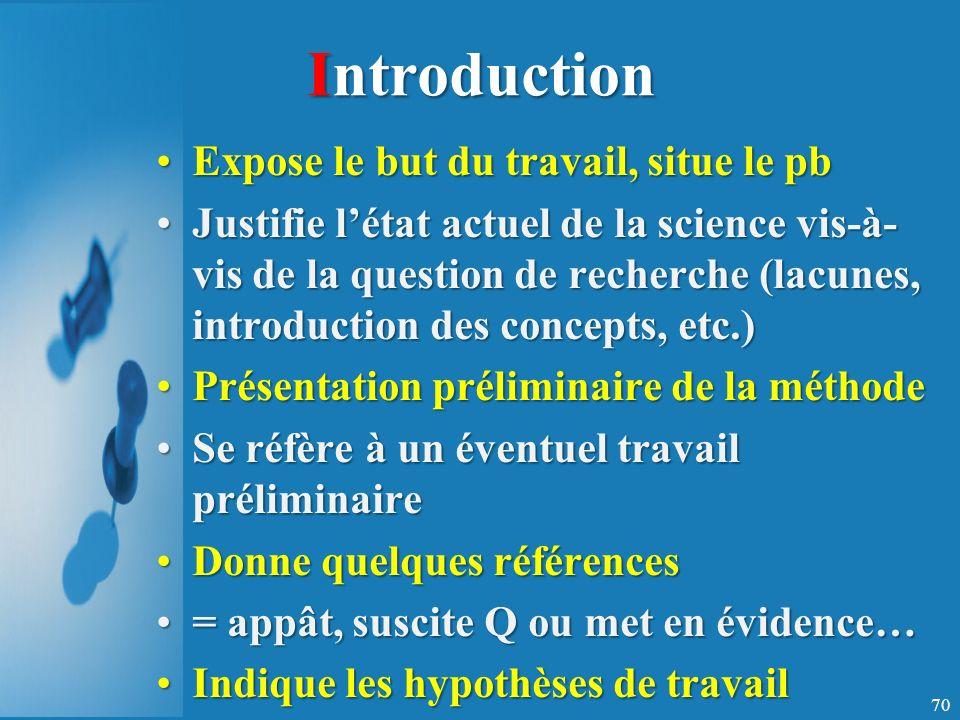 Introduction Expose le but du travail, situe le pb