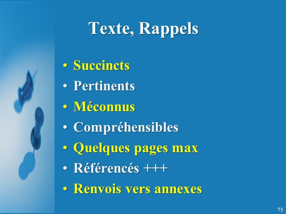 Texte, Rappels Succincts Pertinents Méconnus Compréhensibles