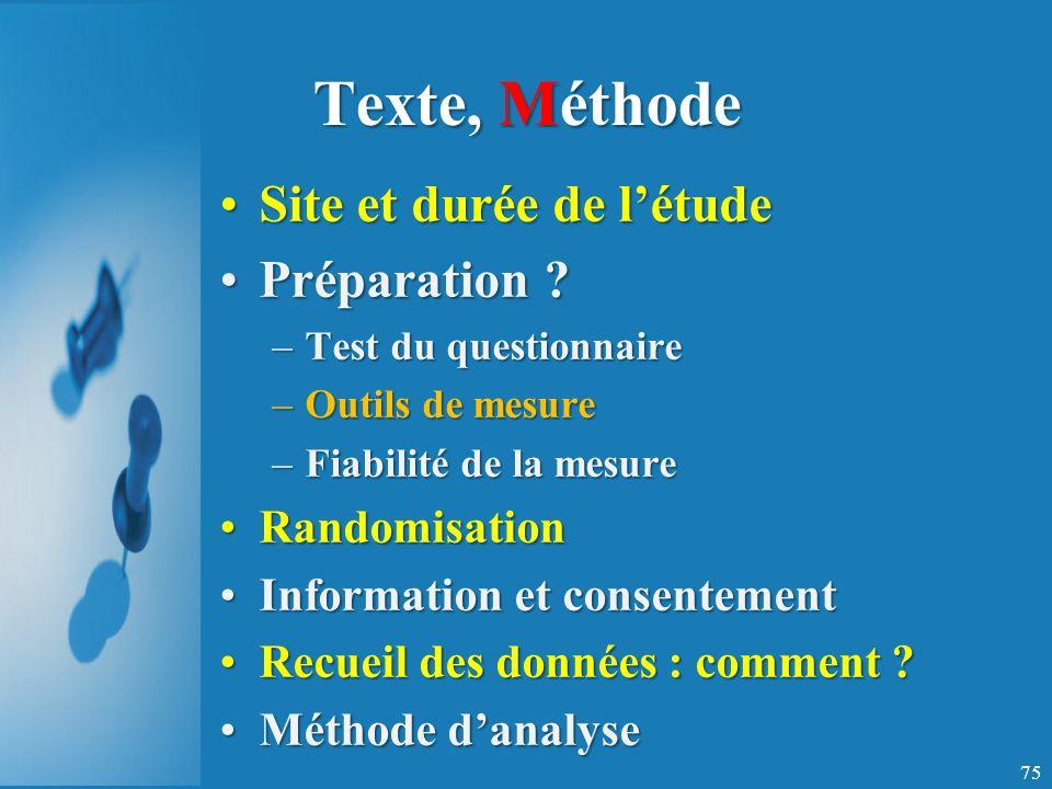 Texte, Méthode Site et durée de l'étude Préparation Randomisation