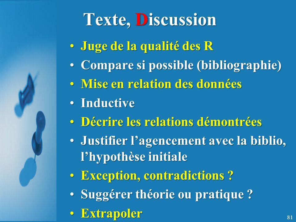 Texte, Discussion Juge de la qualité des R