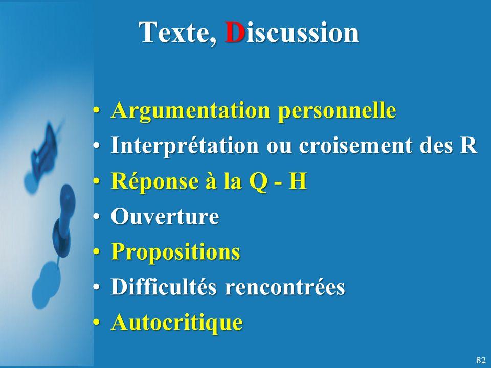 Texte, Discussion Argumentation personnelle