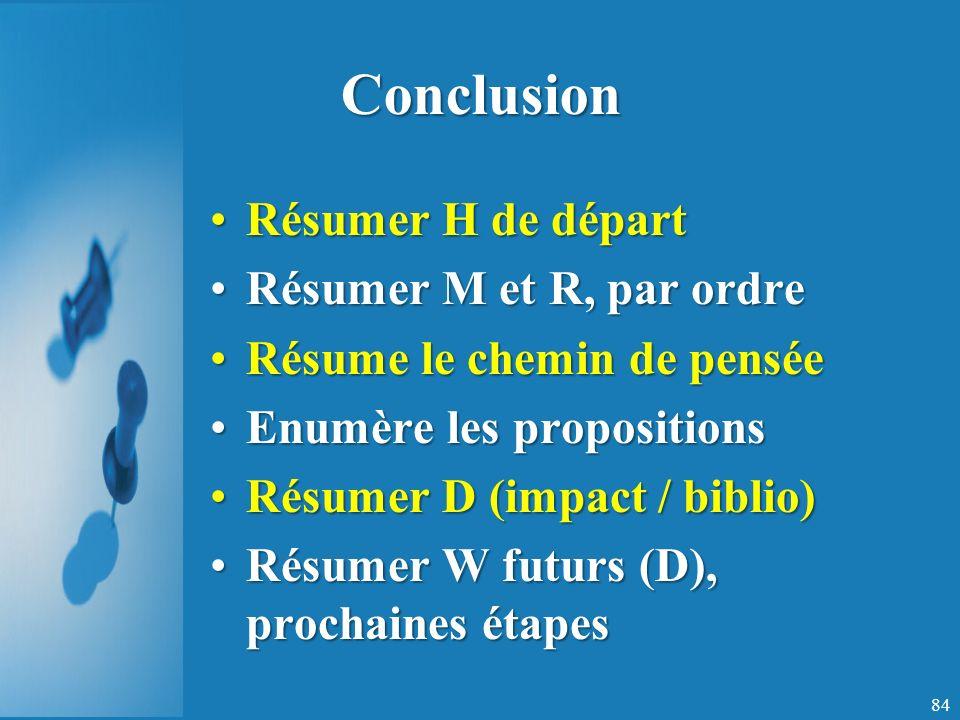 Conclusion Résumer H de départ Résumer M et R, par ordre