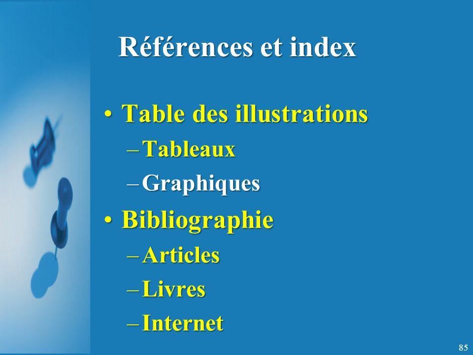 Références et index Table des illustrations Bibliographie Tableaux