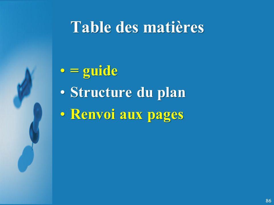 Table des matières = guide Structure du plan Renvoi aux pages