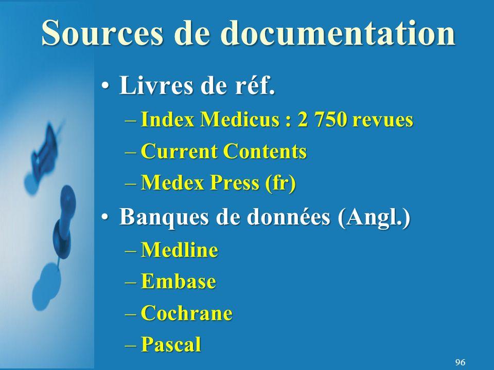 Sources de documentation