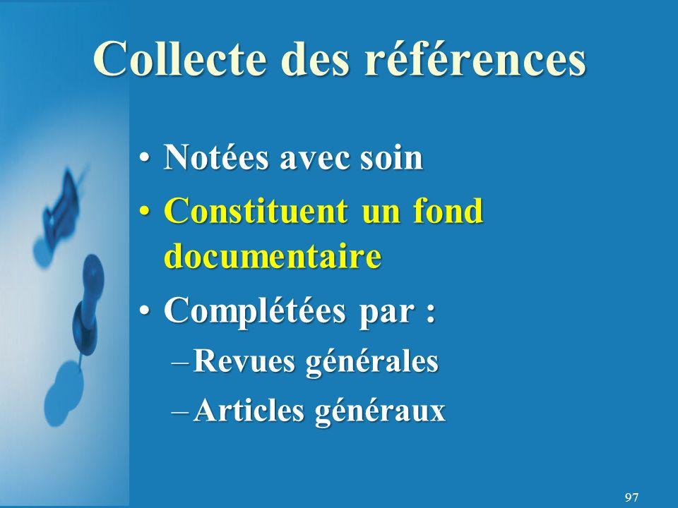 Collecte des références