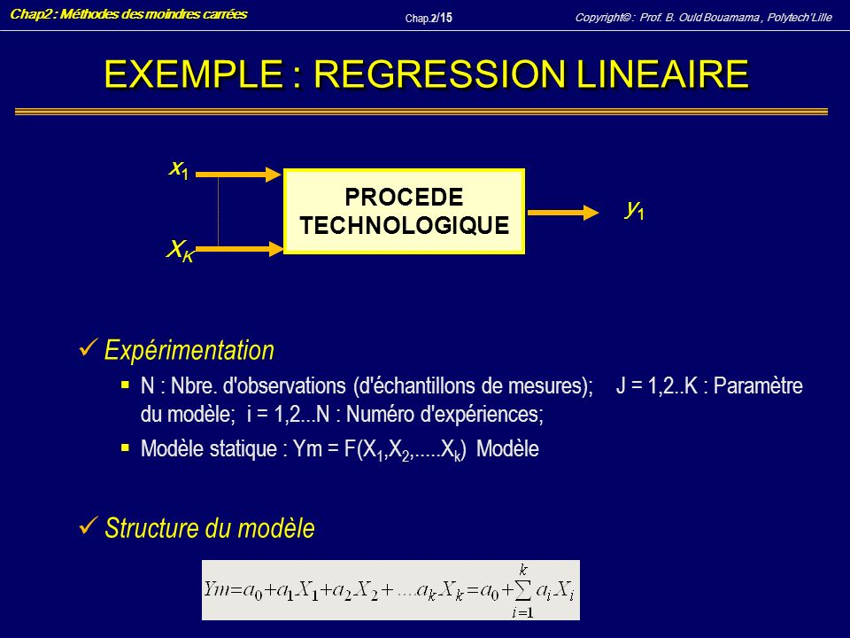 EXEMPLE : REGRESSION LINEAIRE