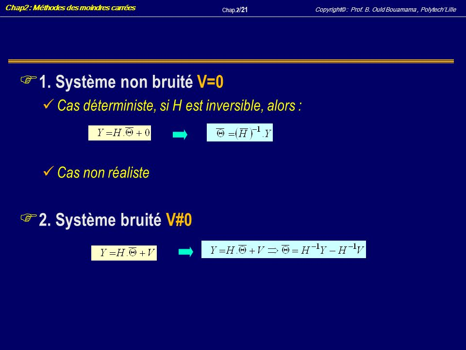 1. Système non bruité V=0 2. Système bruité V#0