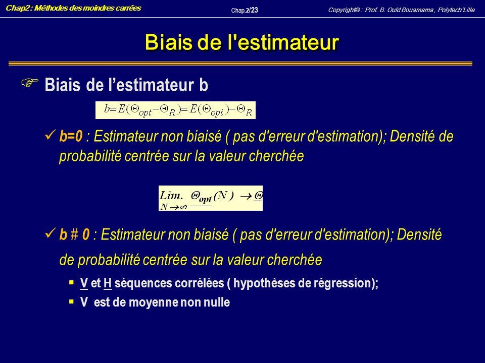 Biais de l estimateur Biais de l'estimateur b