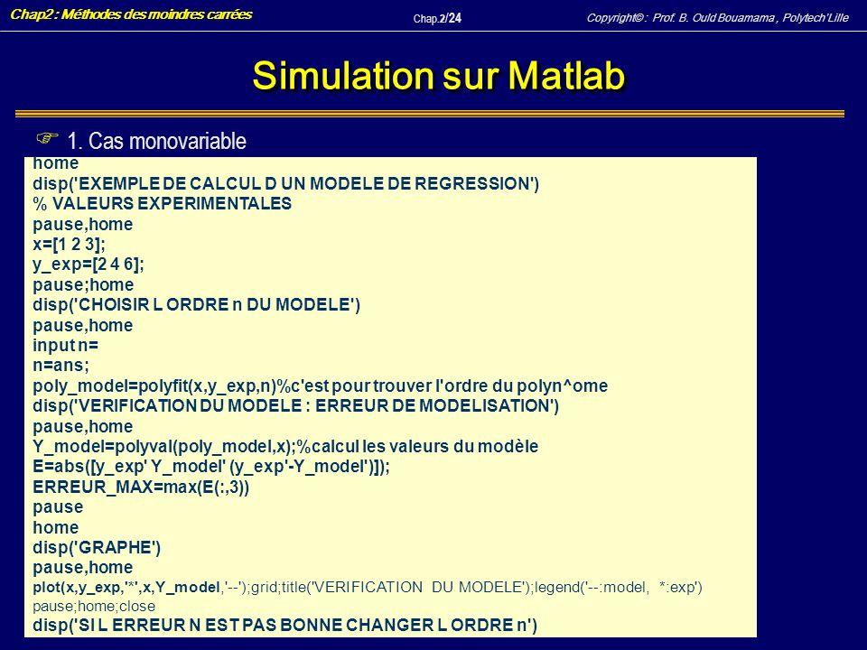 Simulation sur Matlab 1. Cas monovariable home