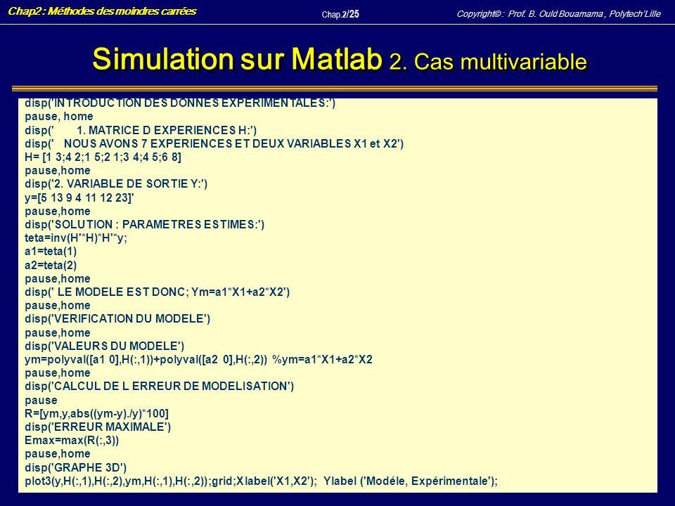 Simulation sur Matlab 2. Cas multivariable