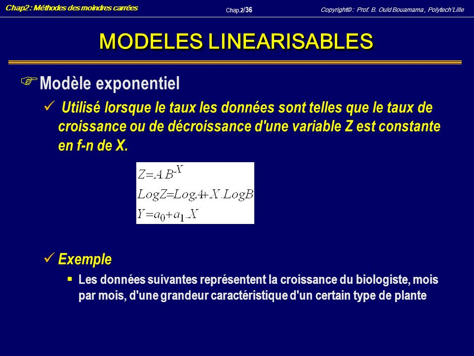 MODELES LINEARISABLES