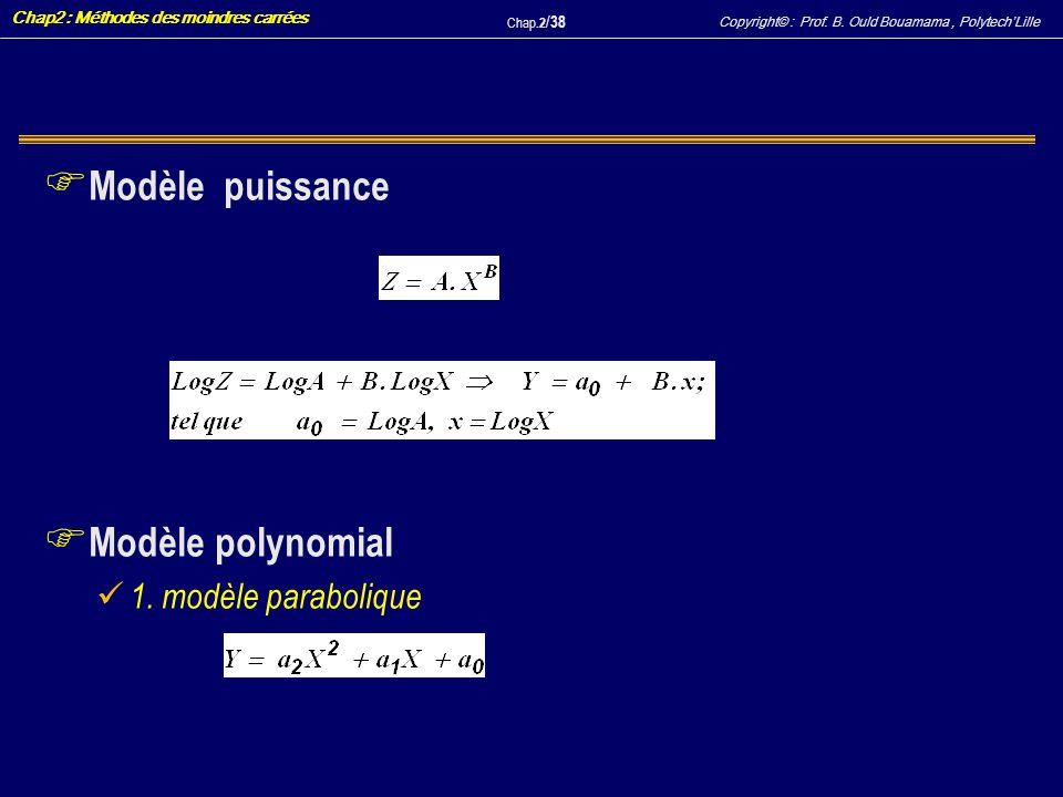 Modèle puissance Modèle polynomial 1. modèle parabolique