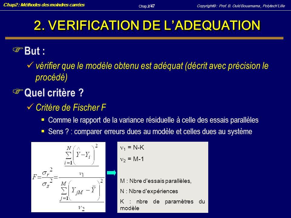 2. VERIFICATION DE L'ADEQUATION
