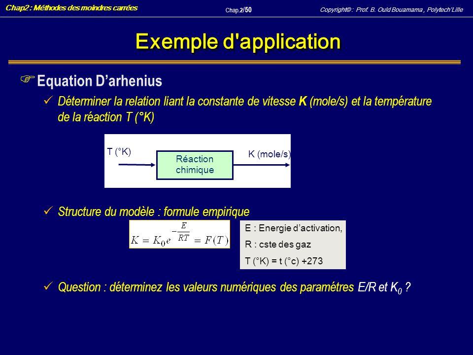 Exemple d application Equation D'arhenius