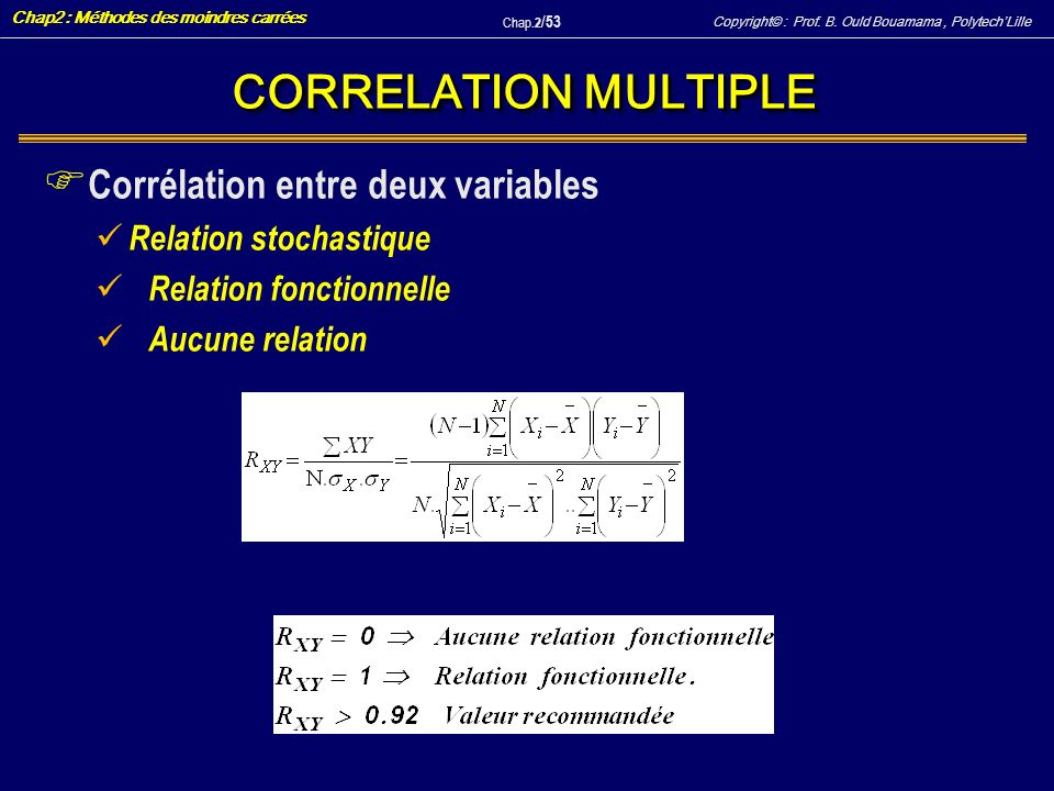 CORRELATION MULTIPLE Corrélation entre deux variables