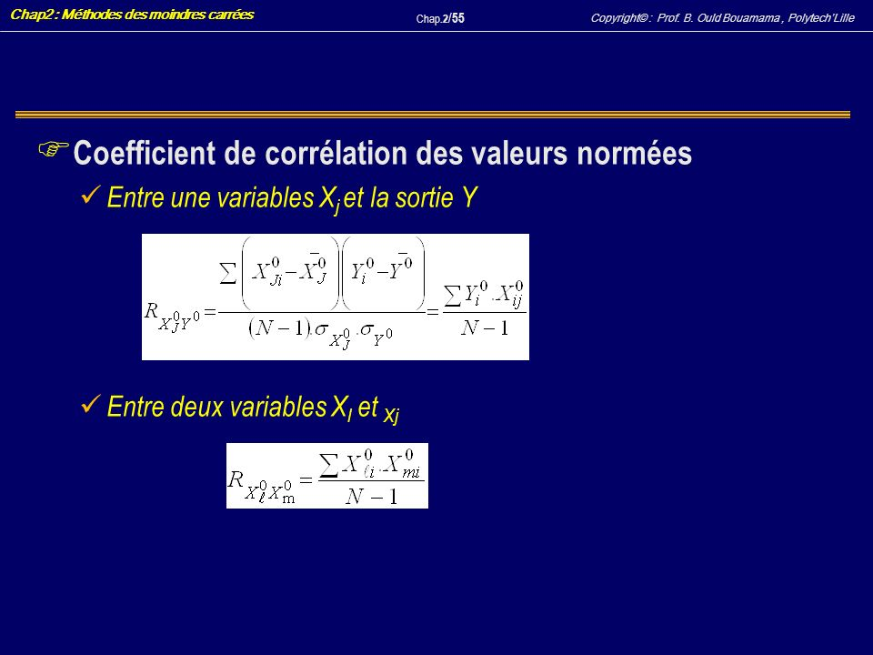 Coefficient de corrélation des valeurs normées