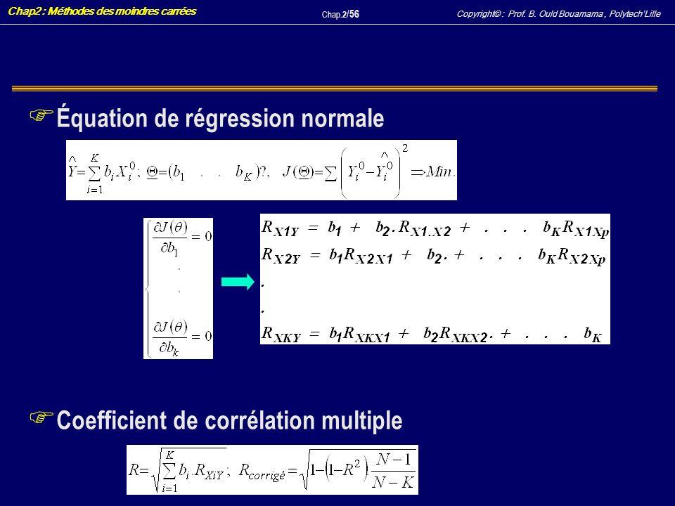 Équation de régression normale