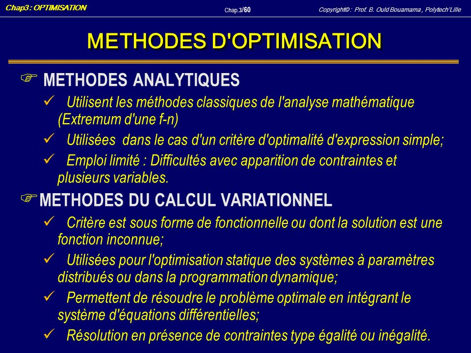 METHODES D OPTIMISATION