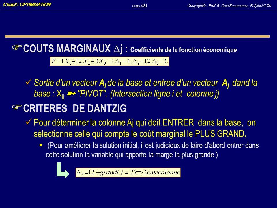 COUTS MARGINAUX j : Coefficients de la fonction économique