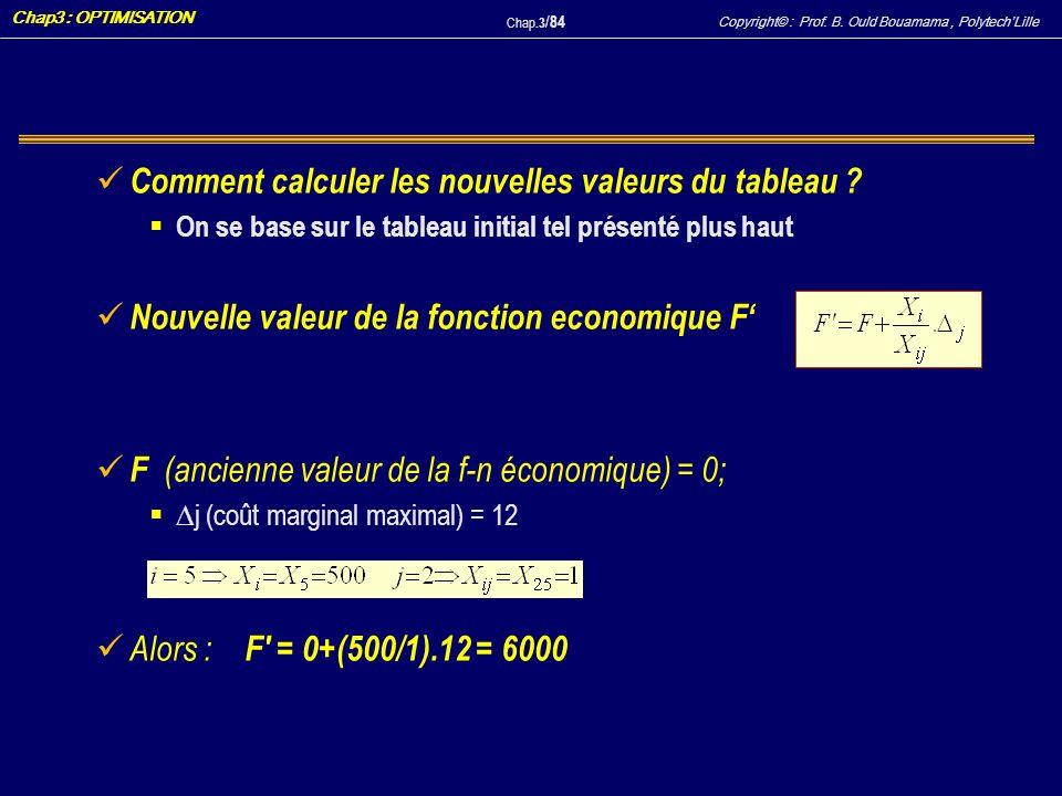 Comment calculer les nouvelles valeurs du tableau