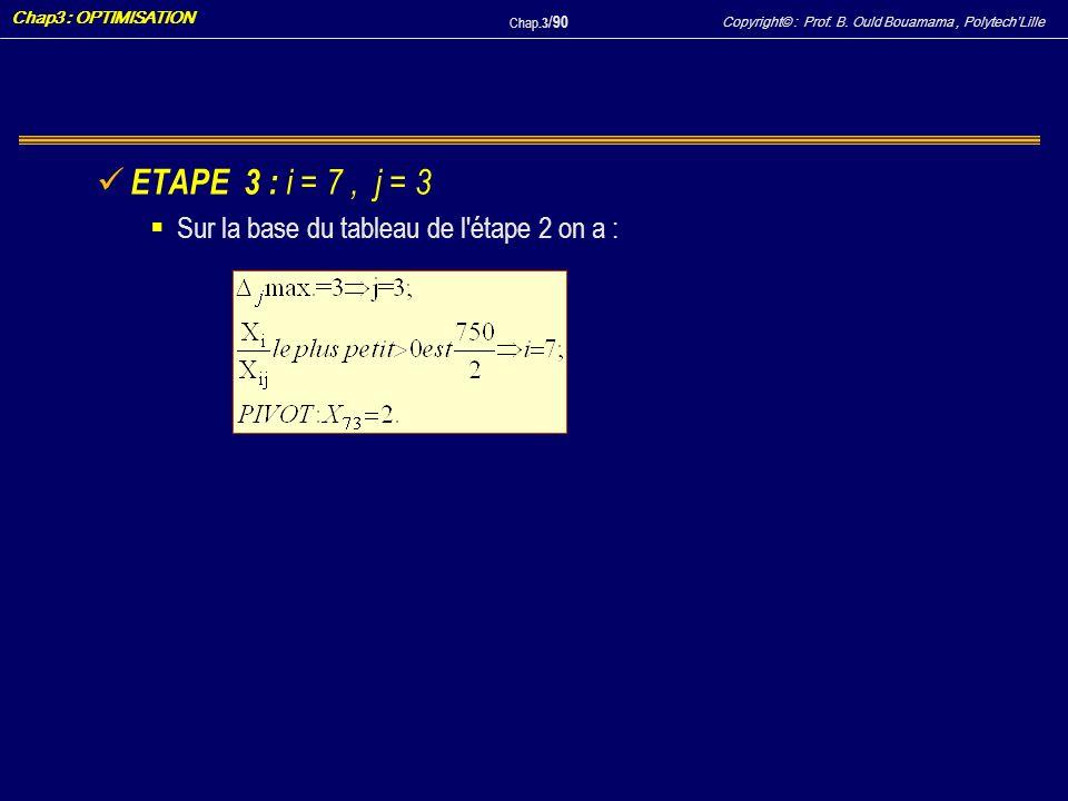 ETAPE 3 : i = 7 , j = 3 Sur la base du tableau de l étape 2 on a :