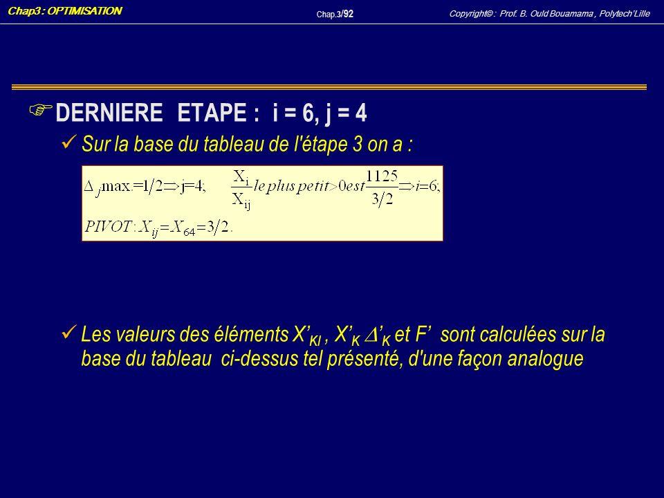 DERNIERE ETAPE : i = 6, j = 4 Sur la base du tableau de l étape 3 on a :
