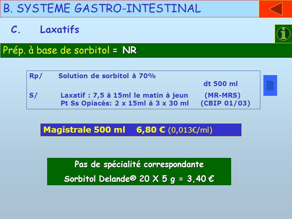 Pas de spécialité correspondante Sorbitol Delande® 20 X 5 g = 3,40 €