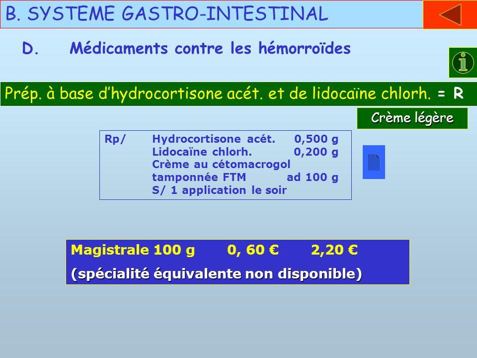 B. SYSTEME GASTRO-INTESTINAL