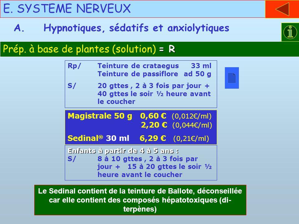E. SYSTEME NERVEUX A. Hypnotiques, sédatifs et anxiolytiques