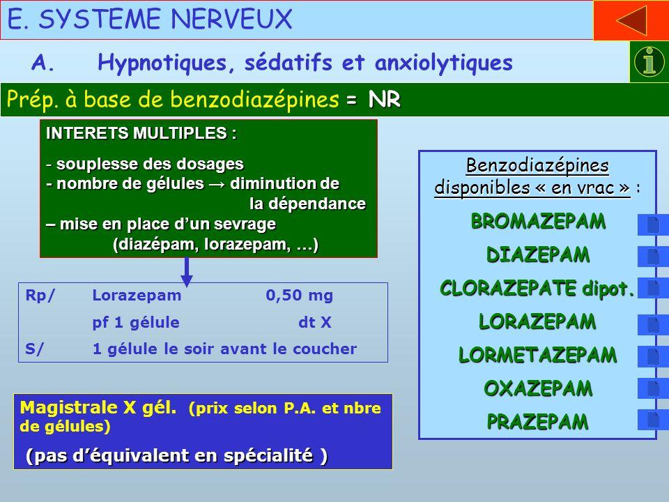 Benzodiazépines disponibles « en vrac » :