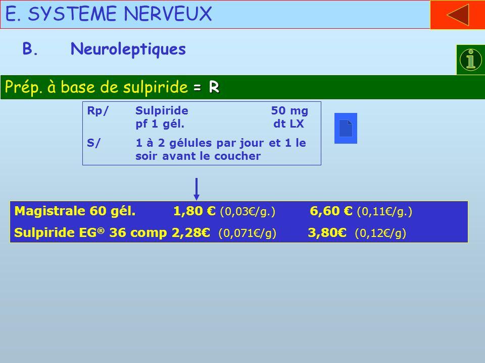 E. SYSTEME NERVEUX B. Neuroleptiques Prép. à base de sulpiride = R