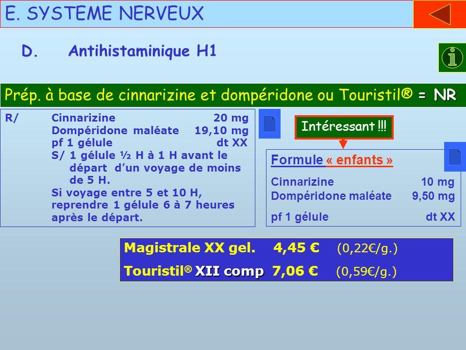 E. SYSTEME NERVEUX D. Antihistaminique H1
