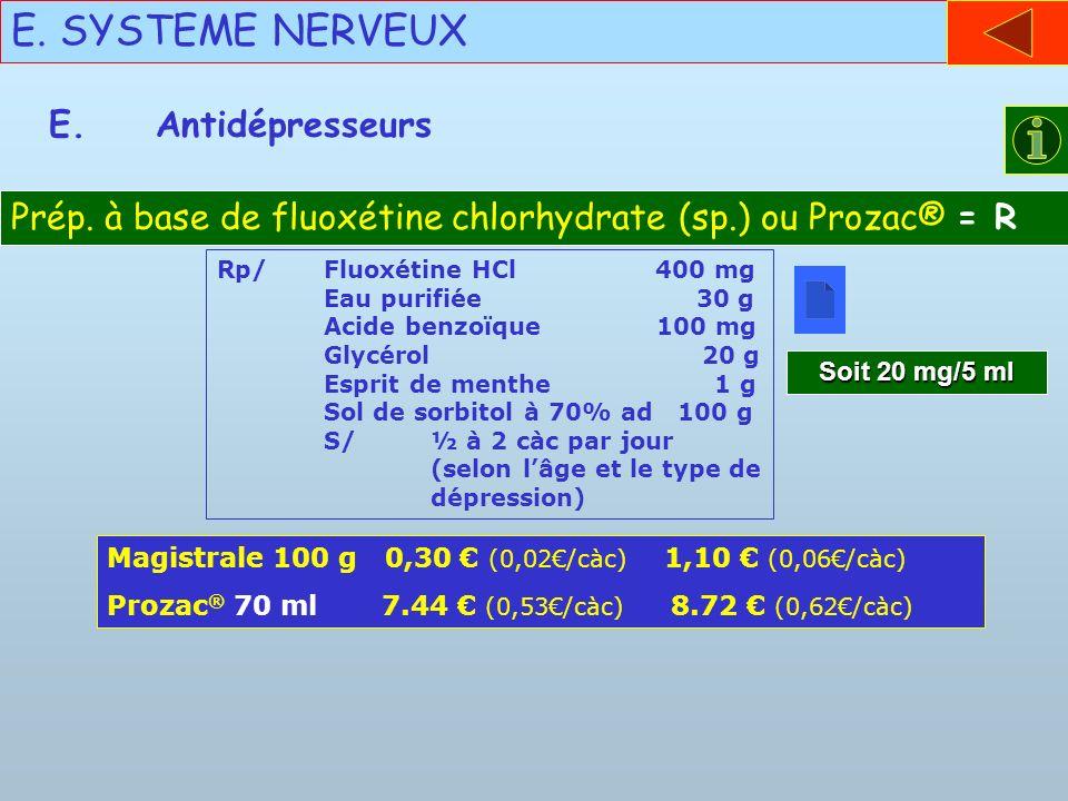 E. SYSTEME NERVEUX E. Antidépresseurs