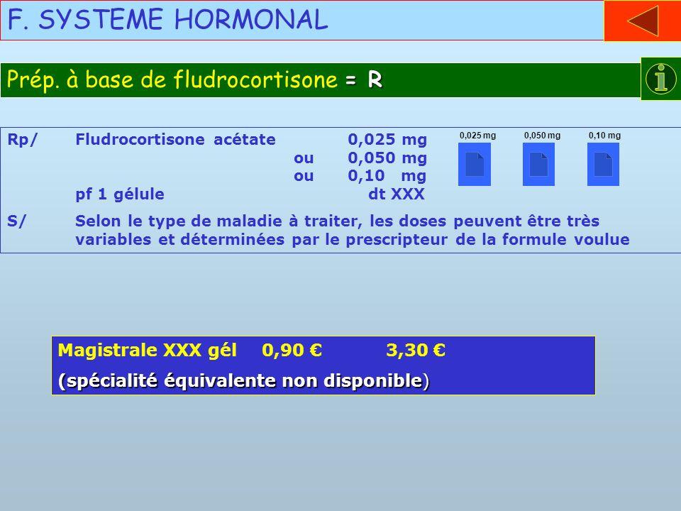F. SYSTEME HORMONAL Prép. à base de fludrocortisone = R