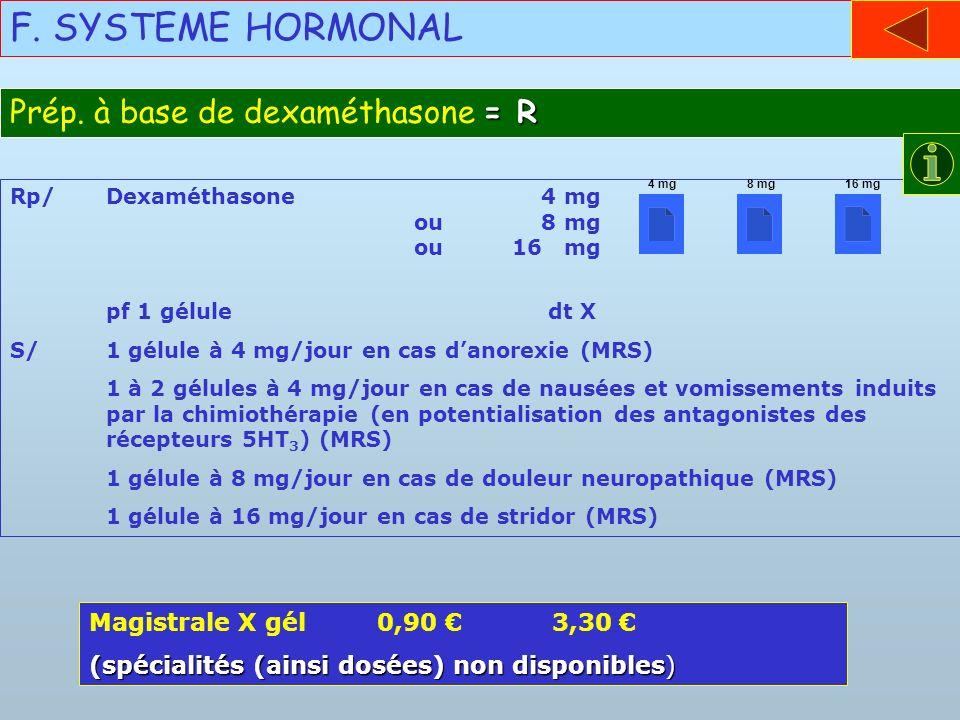 F. SYSTEME HORMONAL Prép. à base de dexaméthasone = R