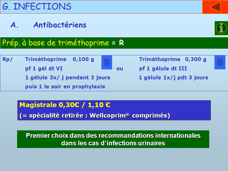 G. INFECTIONS A. Antibactériens Prép. à base de triméthoprime = R