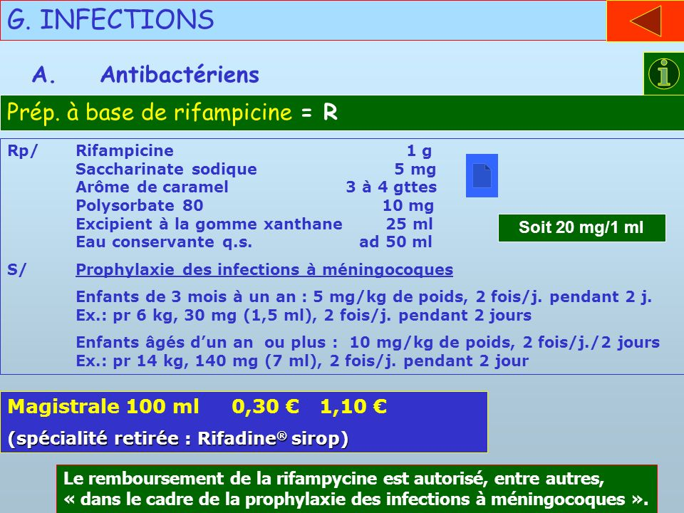 G. INFECTIONS A. Antibactériens Prép. à base de rifampicine = R