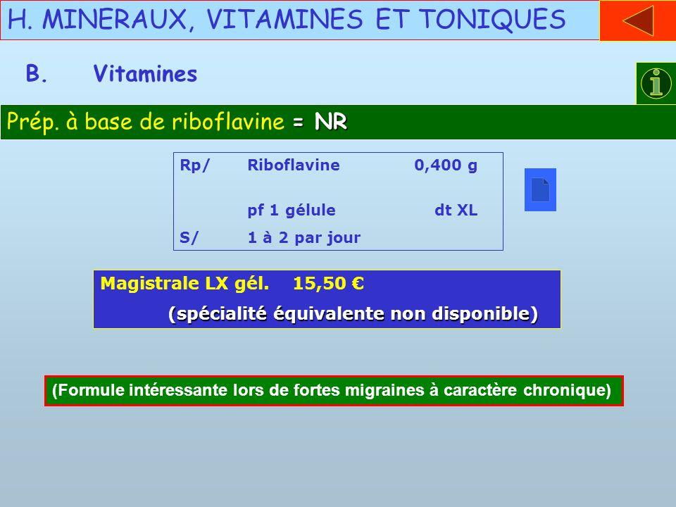 H. MINERAUX, VITAMINES ET TONIQUES