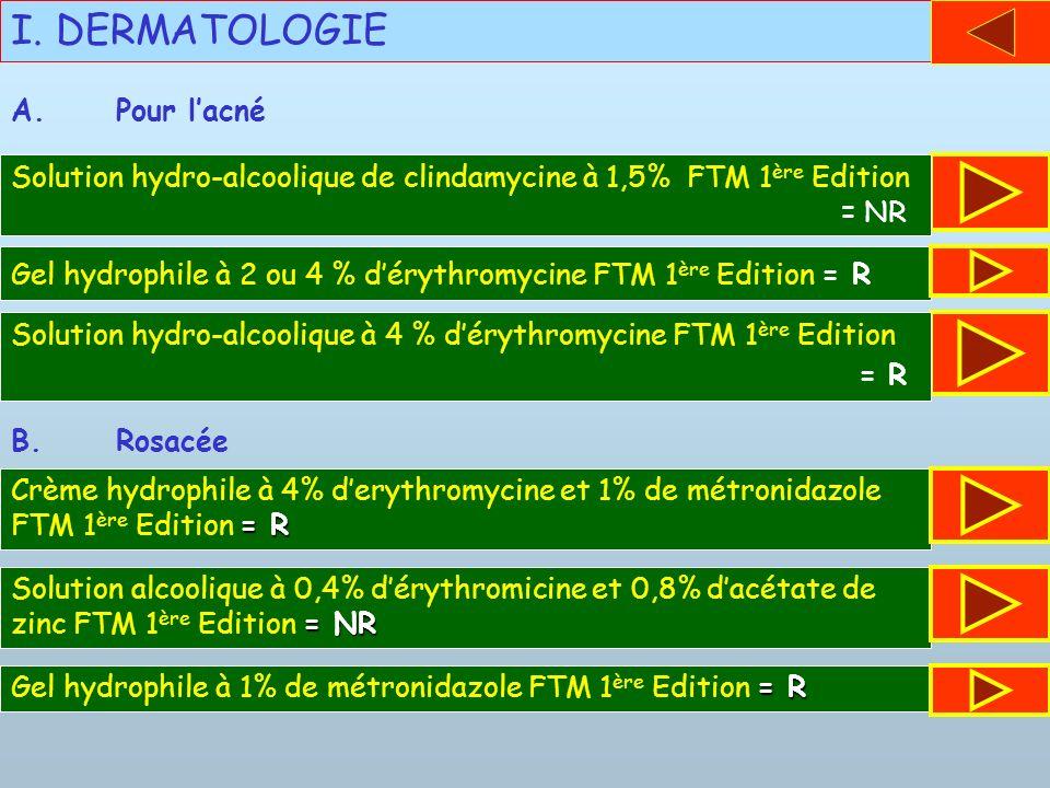 I. DERMATOLOGIE A. Pour l'acné